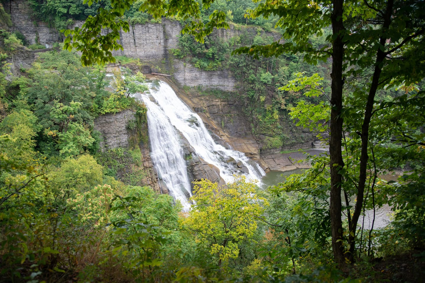 Captivating views of Ithaca Falls, directly form the bedroom, the bar room, and the yard with fire place and hot tub.  The view over Ithaca falls from this apartment is one of the most spectacular in Ithaca.