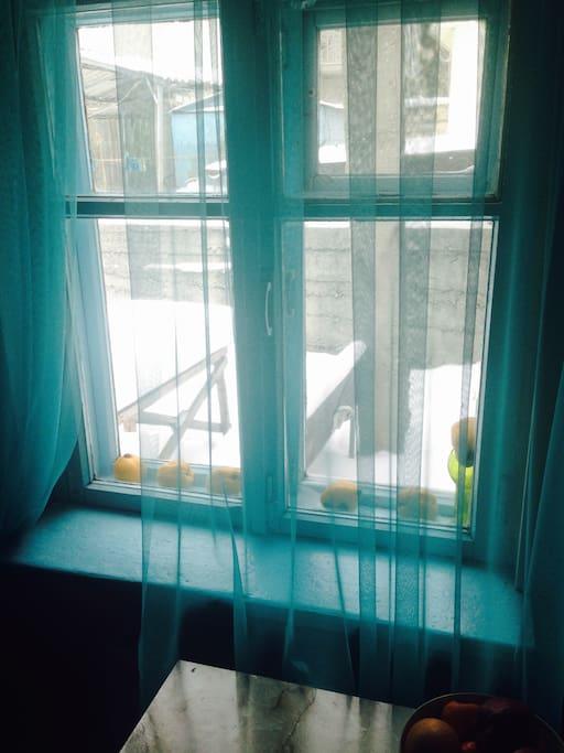 the magic blue window in the winter