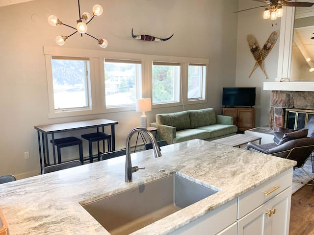 Newly renovated kitchen and living area