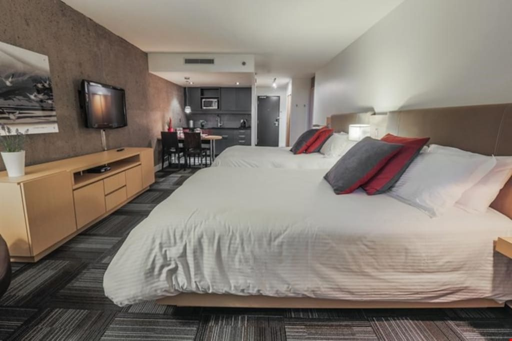 The spacious studio can sleep up to 4 guests.