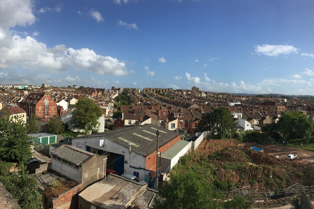 The view from the bedroom of Southville and Bedminster all the way to the hills.