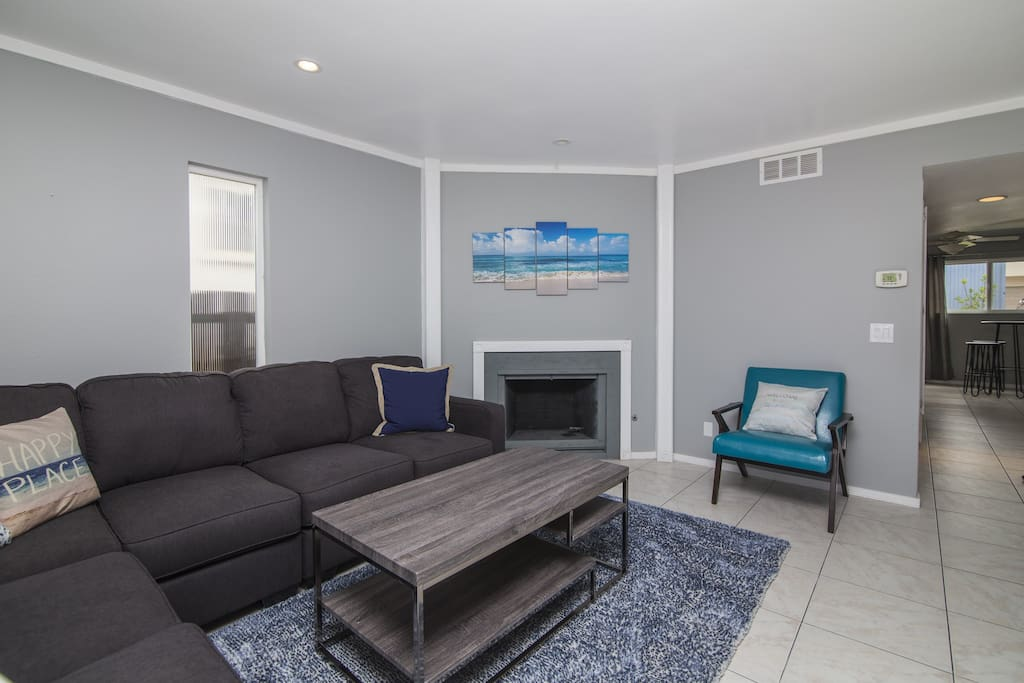 Bright and cheerful living room with new furnishings and decor