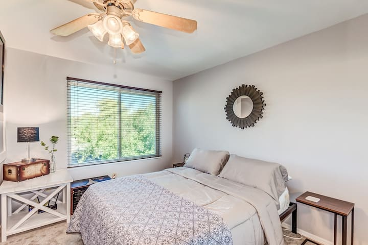 Queen bed with Purple® mattress in upstairs private bedroom.