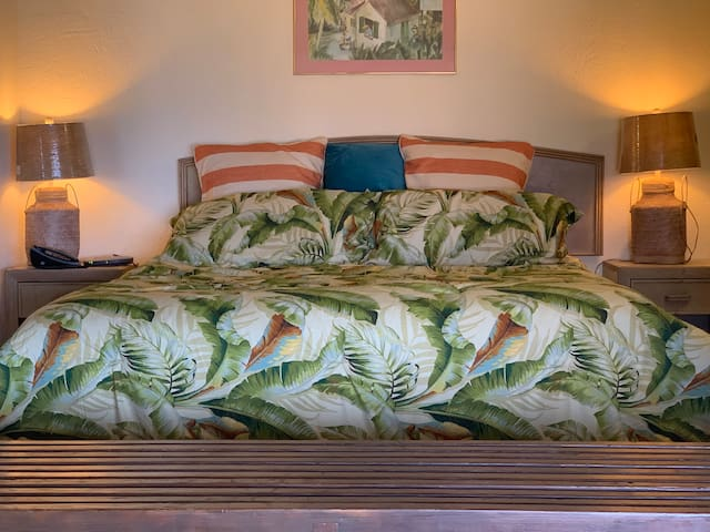 Gorgeous new Tommy Bahama bed set with big pillows to watch a movie in bed.