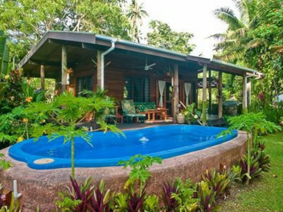Beachfront cottage with private pool