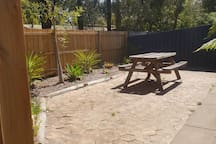 Private courtyard with secure fencing