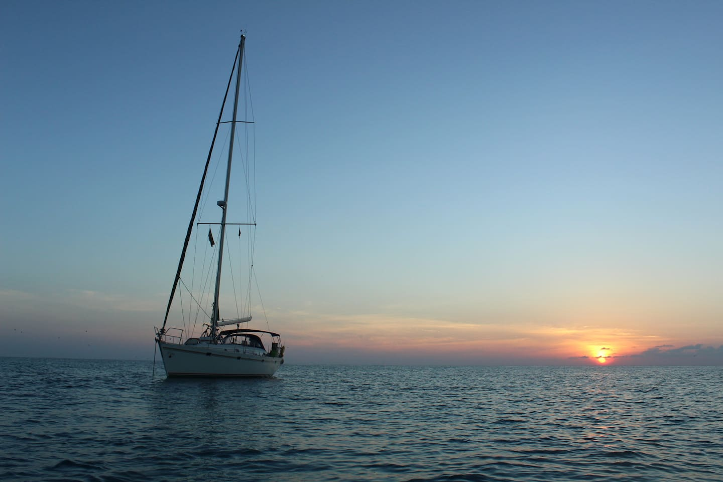 Sunset anchored off Bird Island