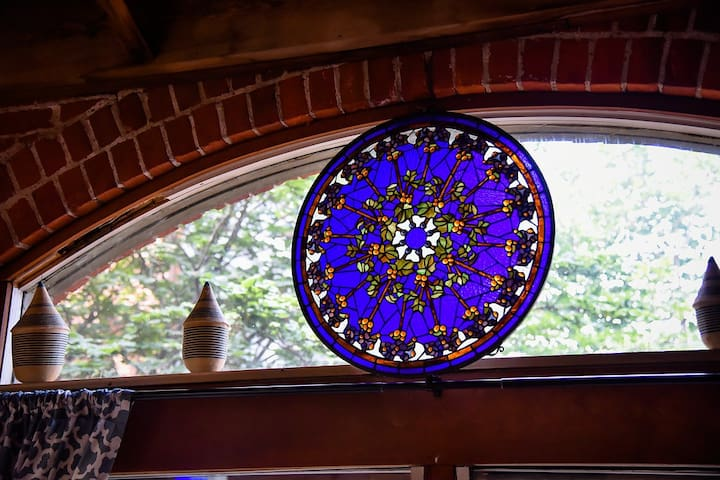 This antique stain glass was found in the attic of the main house that was built in 1840.