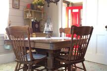 The victorian style dining room serves up plenty of character