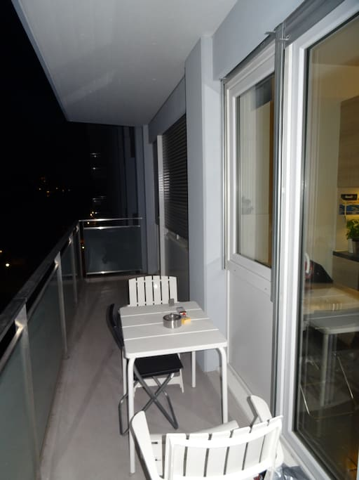 access to the balcony from kitchen, bedroom and living room