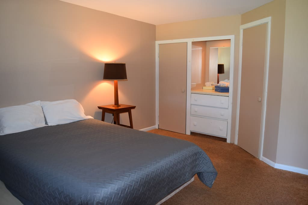 This room has 1 queen bed with a closet and private bathroom
