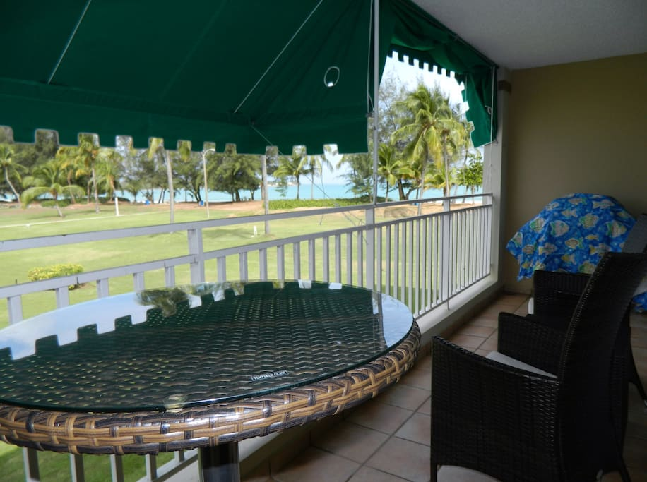 Bar and chair seating on the large balcony