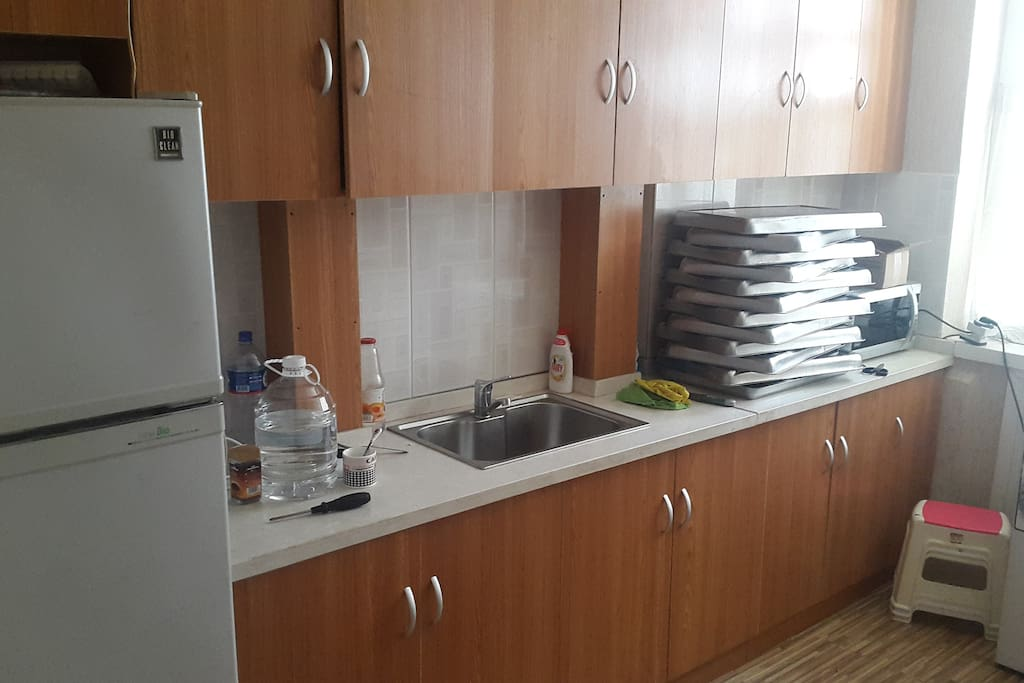 Kitchen is provided with all access. +Refrigerator