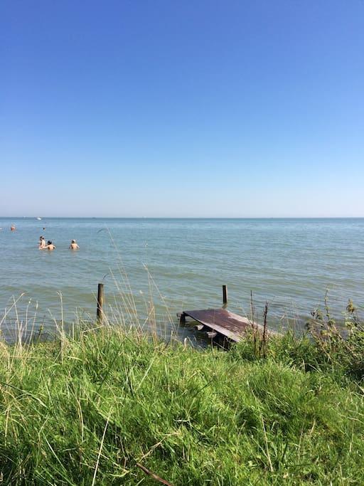 Zwemmen in Markermeer (5 min. lopen)