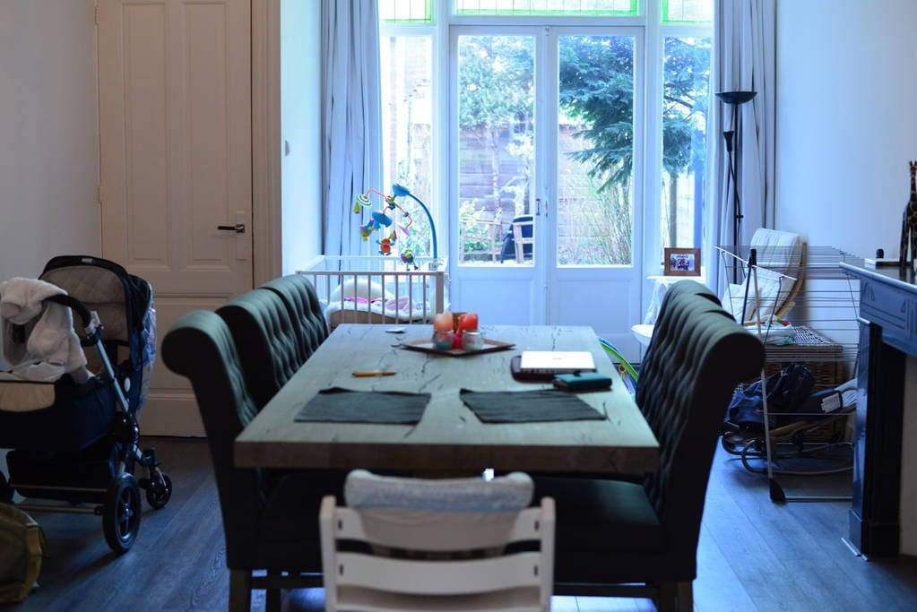 Spacious dining room table overlooking the garden