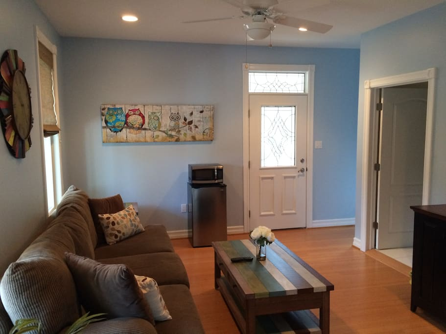Attached private living room/ microwave with mini- refrigerator and Keurig coffee