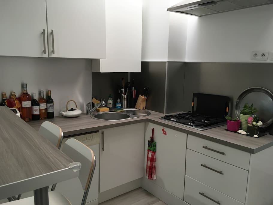 Fully equipped kitchen (oven, microwave, dishwasher, toaster, Nespresso machine)