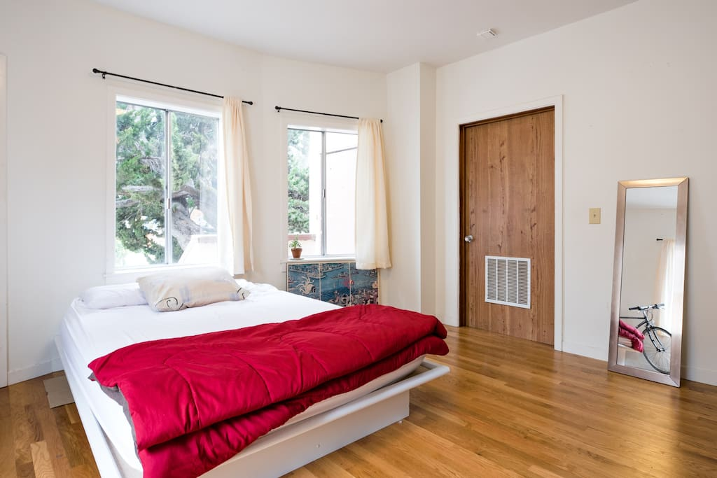 Queen-sized bed with room to spare. More floor bedding can be provided for additional guests.