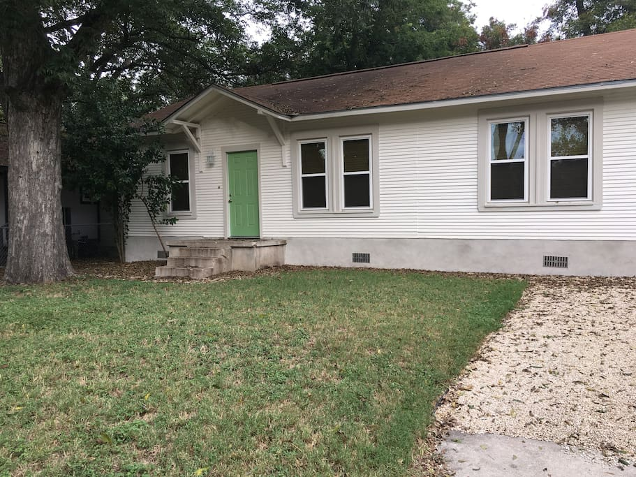 Front of the cozy East Austin bungalow