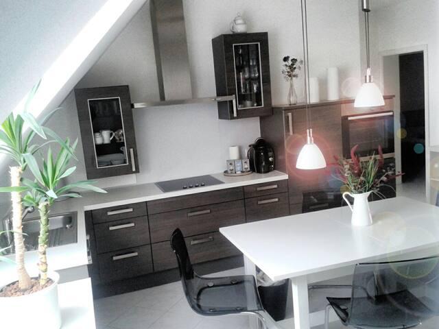Küche mit Geschirrspüler, Kochfeld und Kaffeemaschine