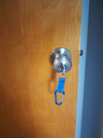 A key to lock up the room as you are in and out. Just make sure the leave the key in the doorknob when you check out!