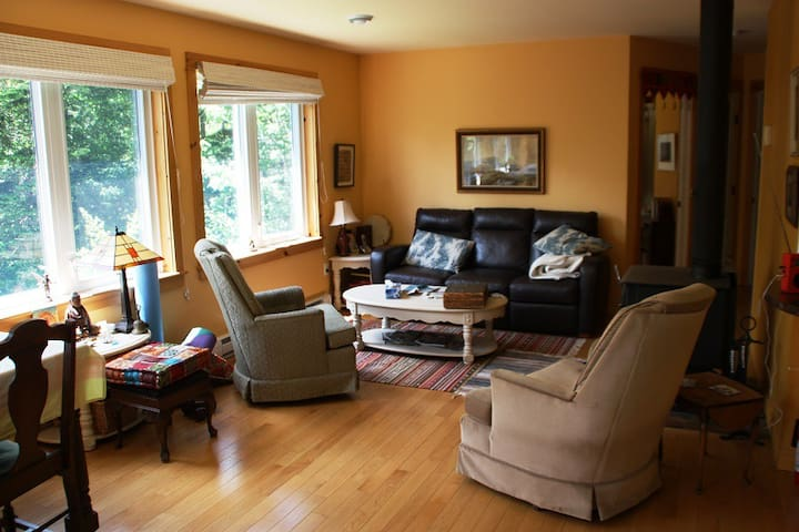 Bright and comfortable living room with beautiful oak floors
