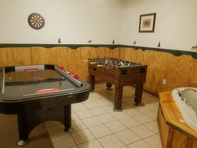 Air hockey,  foosball, darts,  and jacuzzi.   This is living!