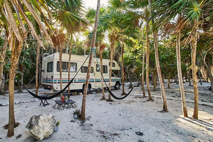 LA VIAJERA TULUM . RV on the beach in Soliman Bay