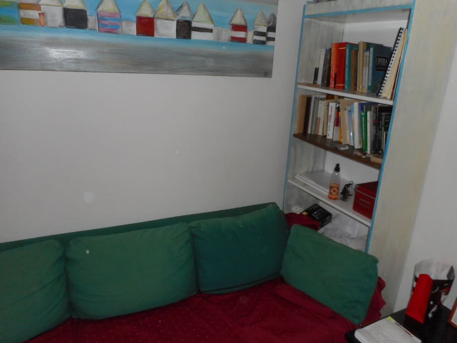 Sofa at the entrance and Bookcase