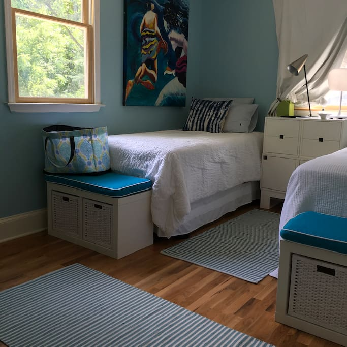 Storage in the seating& bedside tables.