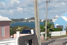 View outside of the harbour and cruise ship.