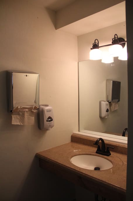 1/2 bathroom inside your cabin. Showers and more toilets in the washroom, just steps away from the cabin.