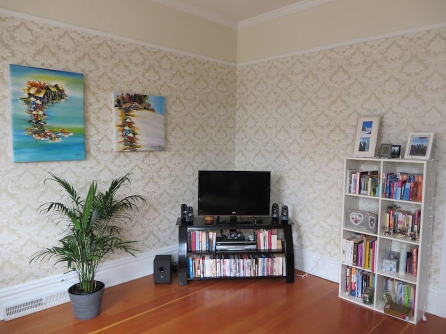 Living room with original Victorian hardwood floors
