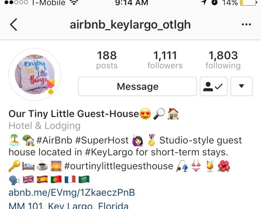 Follow us on Instagram and tag us on your adventures through Key Largo and the Florida Keys! @airbnb_keylargo_otlgh #Airbnb #AirbnbKeyLargo #OurTinyLittleGuestHouse