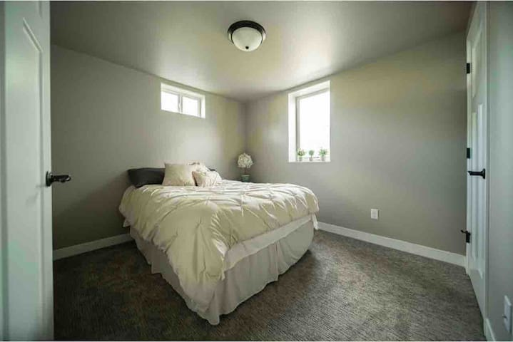 Full size bed in basement