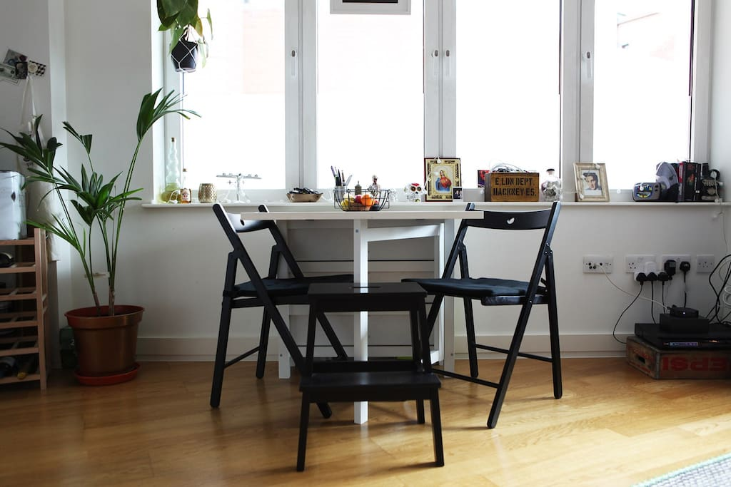Kitchen table seats a cosy 2 or a boisterous 4.