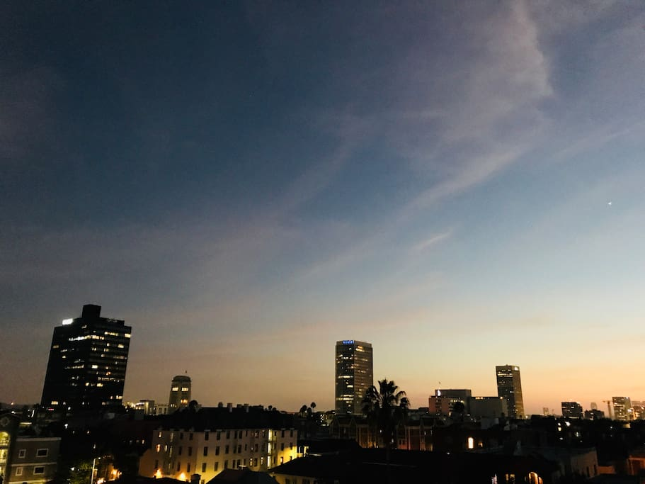 Sunset view from roof deck