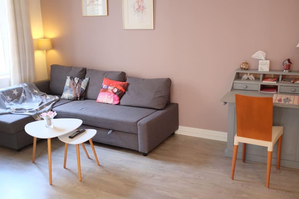 Le canapé se transforme en lit de 140x200. Le lit plus le canapé permettent de coucher 4 personnes.