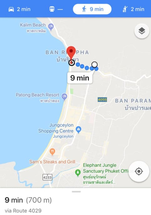 Distance from property to Patong beach is 700 meters (9 mins by walk and only 2 mins by car or motocycle)