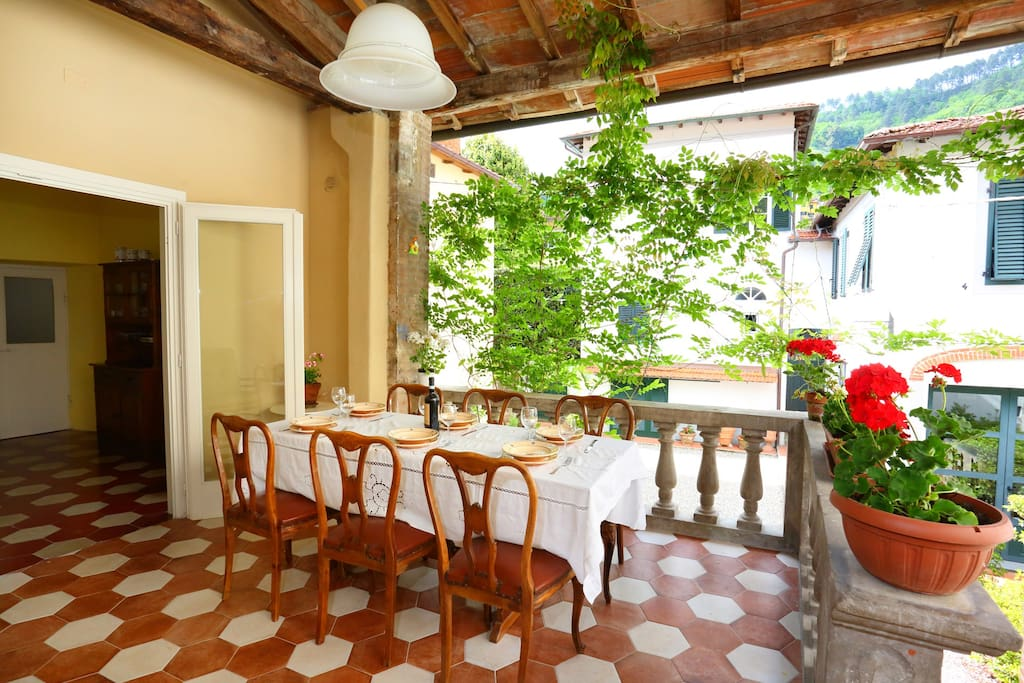 The terrace and kitchen