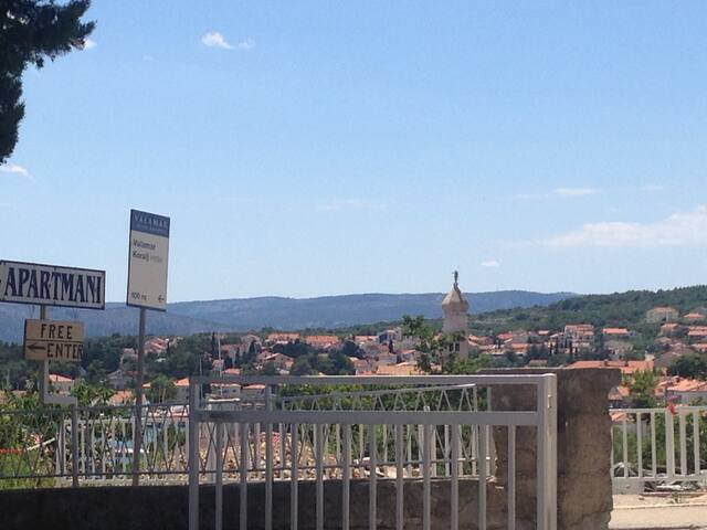 Terrace view,  there is a street - 4 min walk to medieval city,  3 min to the beach