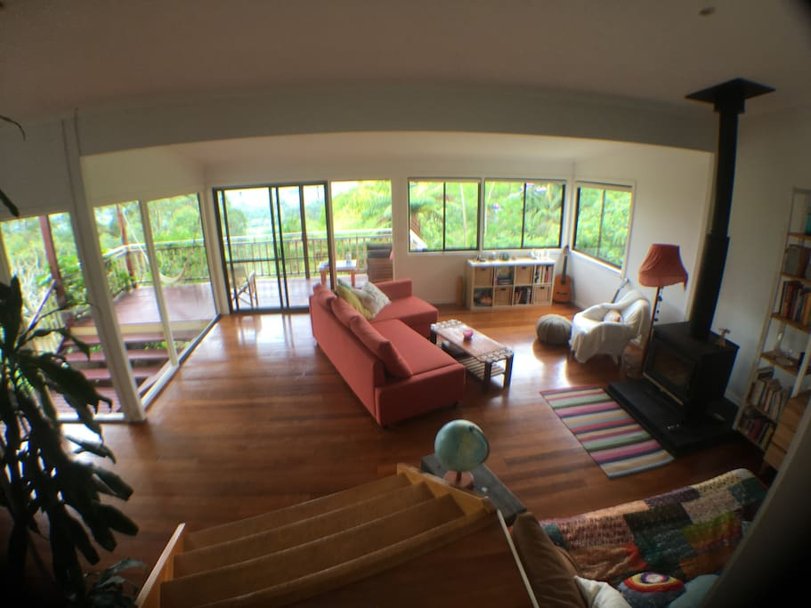 Living space and deck from entrance area