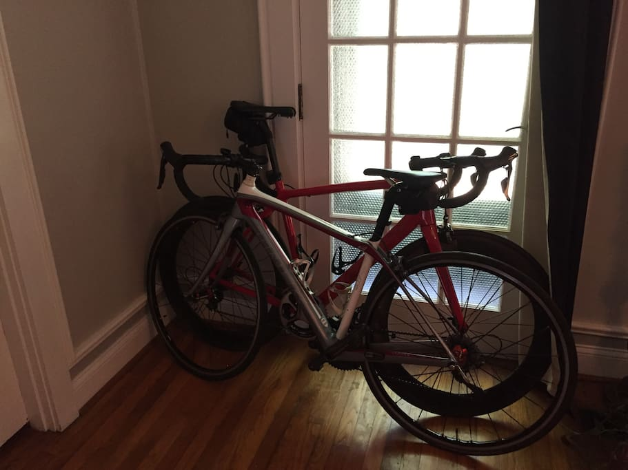 Bring your bike and we'll find a place for you to keep it inside the house somewhere.