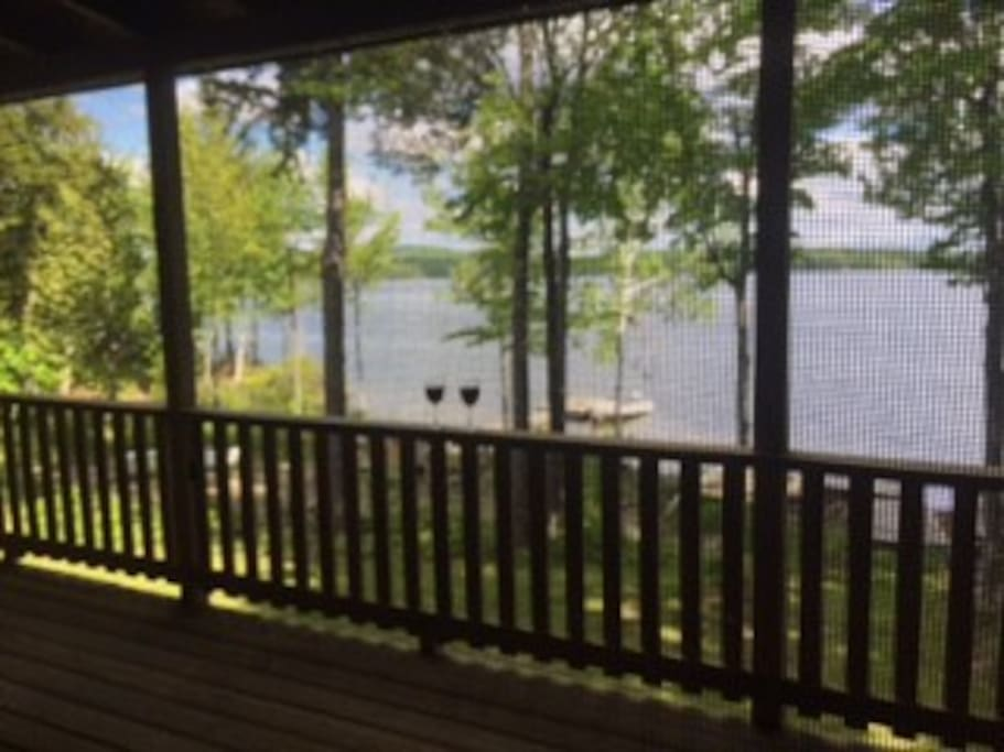 Enjoy a glass of wine (or two) on the deck while you watch the loons swim by