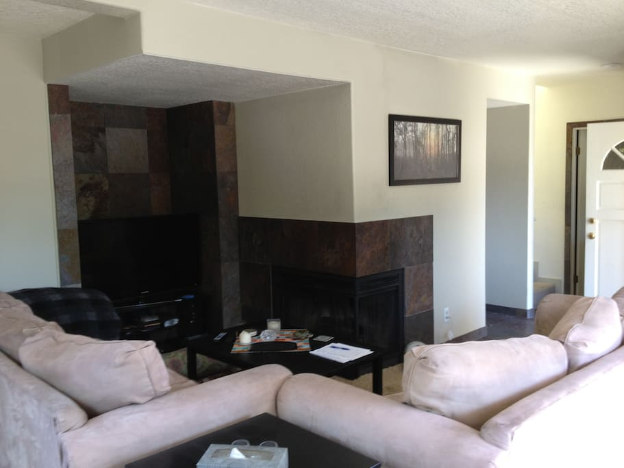 Cable and Internet, big screen TV, comfy couches and a fireplace!