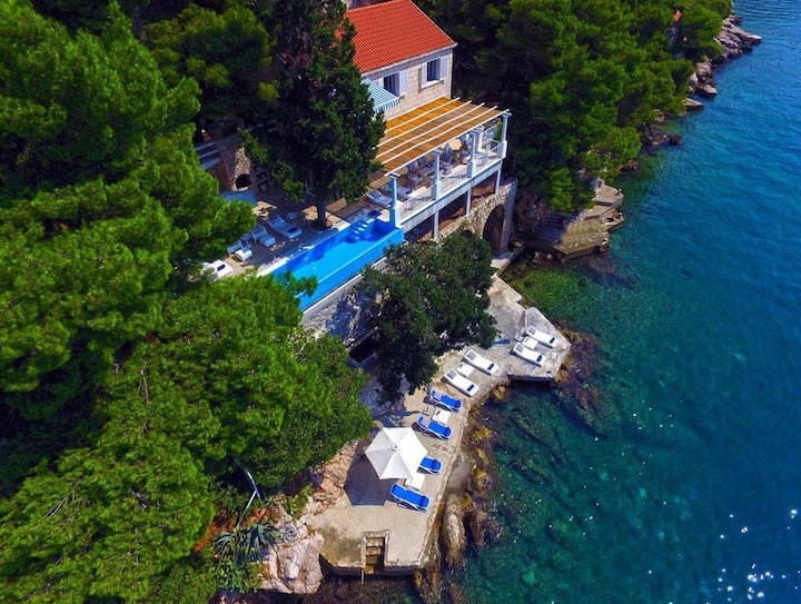 Luxury Beachfront Villa Dubrovnik Sea Diamant with private pool and sea deck right at the sea in Dubrovnik