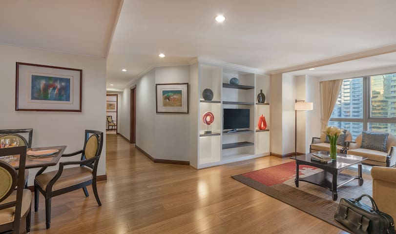3BR Suite with kitchen, living, and dining room
