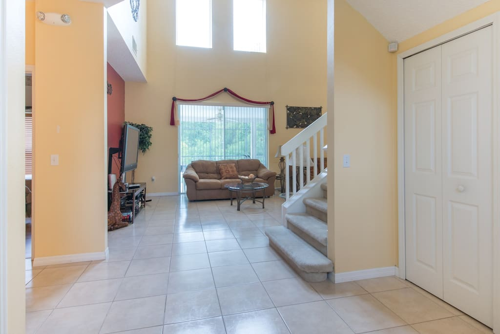 Foyer and view to living room