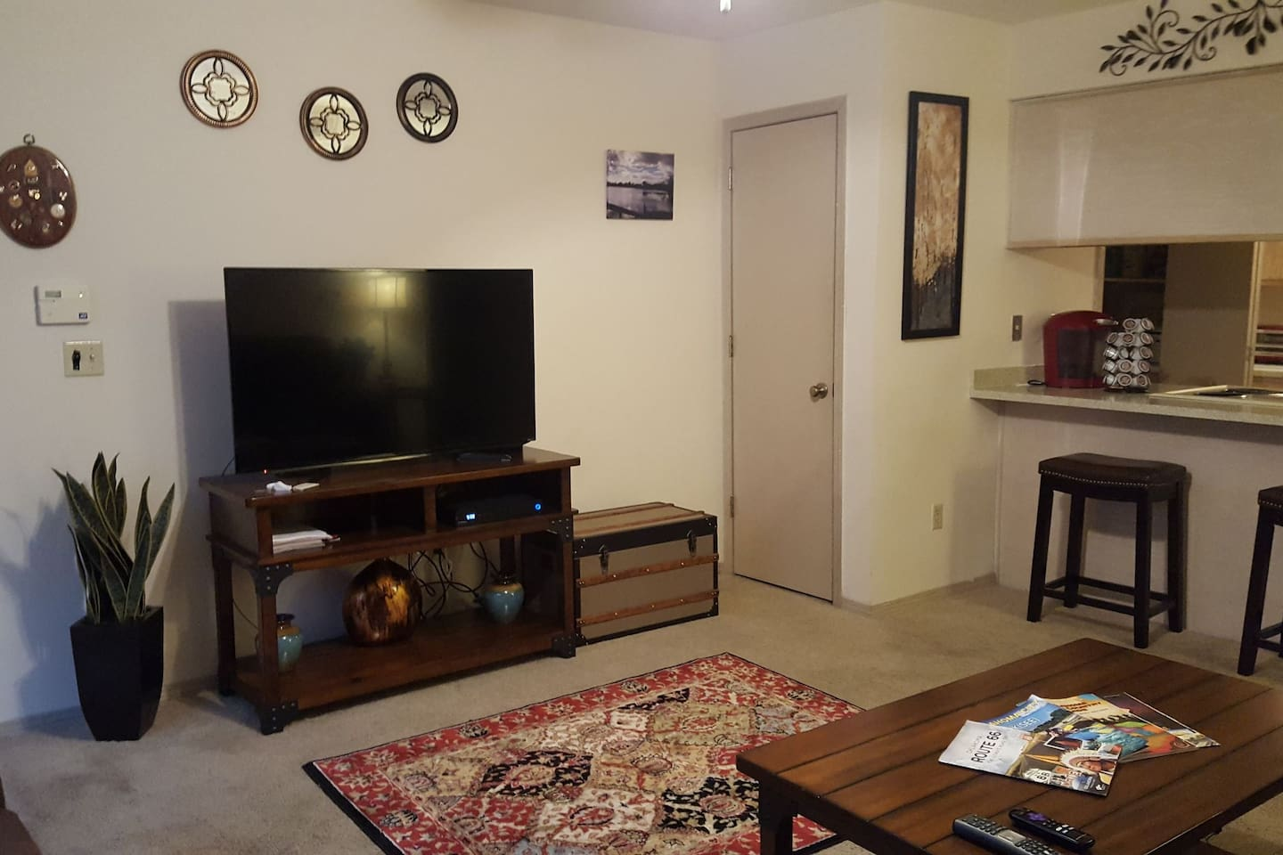 """Roomy living room with 50"""" Roku TV, Cox Cable and Chromcast"""