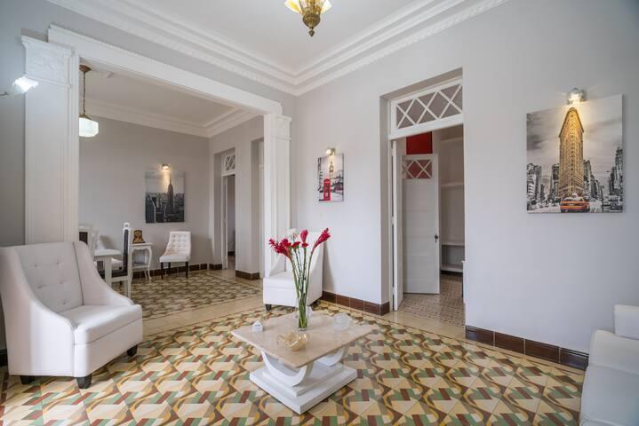 Original moldings and mosaic tile floor